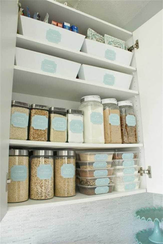 Storage for the Pantry with FREE Printable Labels, 25 Kitchen Organization Ideas