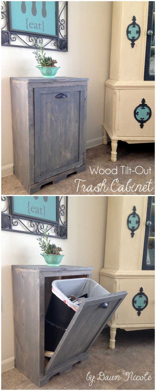 Wood Tilt Trash Can Cabinet, 25 Kitchen Organization Ideas