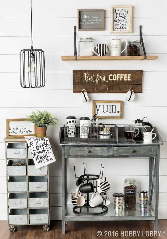 Coffee bar ideas how to make a coffee bar at home for Coffee station ideas for the home