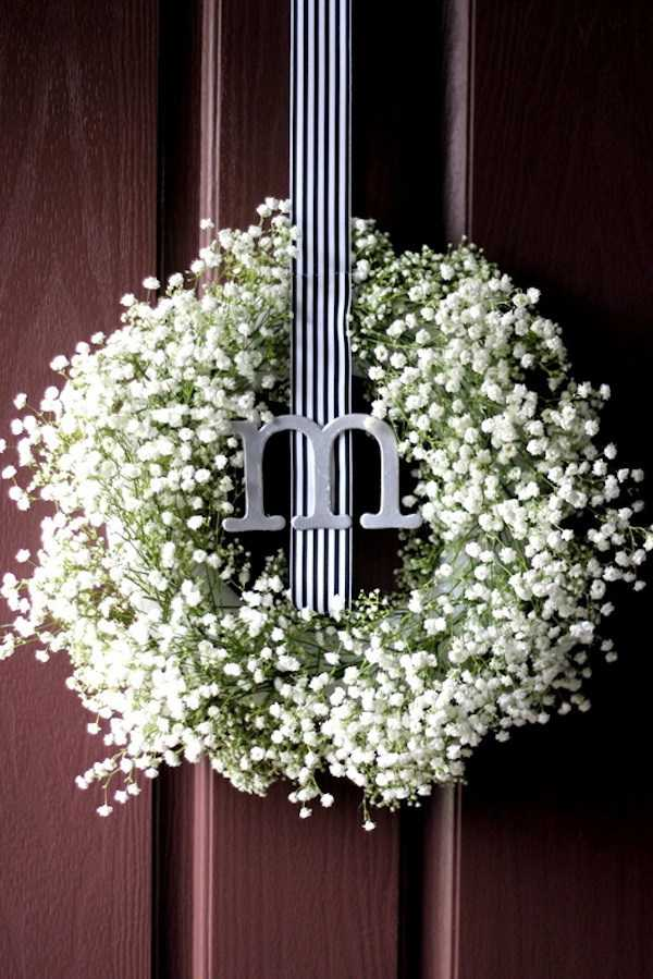 Baby's Breath Wreath with Monogram by Two Delighted, 15 Best Spring Wreaths