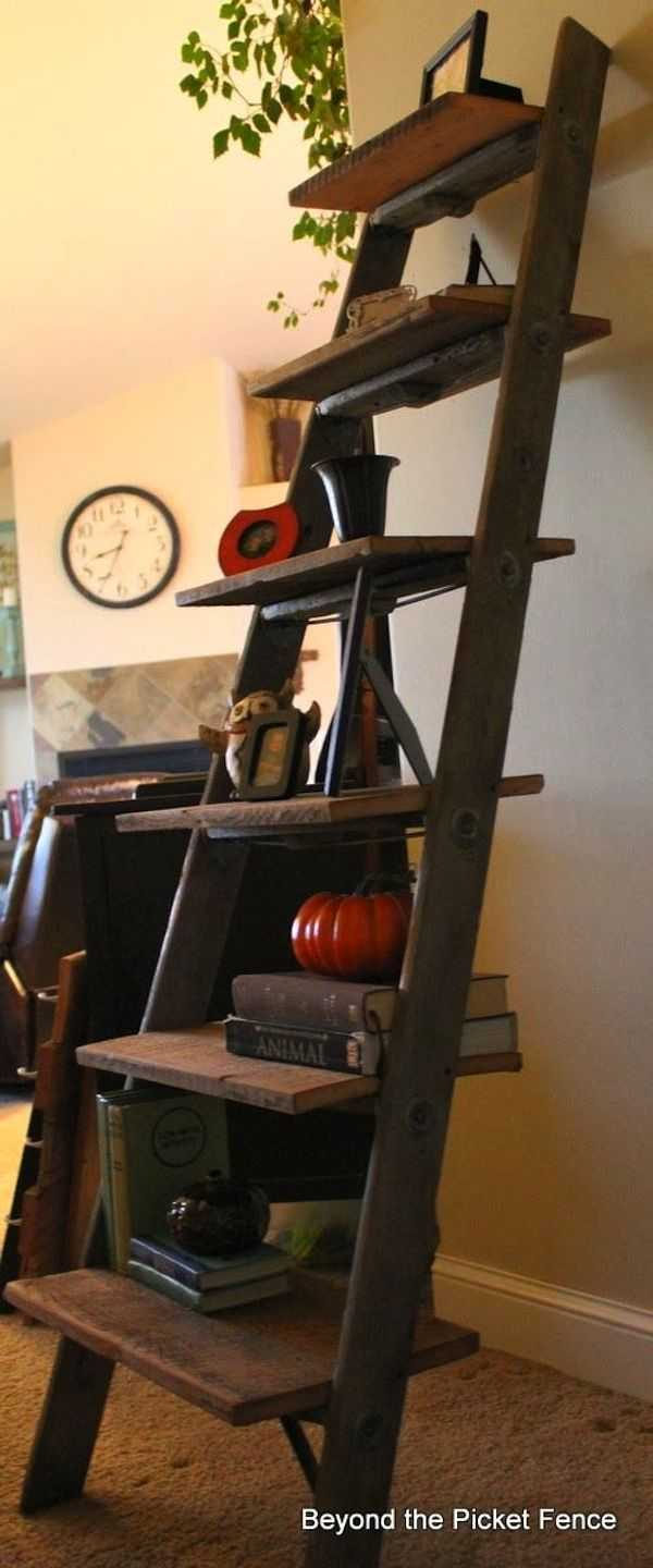 Barnwood Ladder Shelf, 20 DIY Farmhouse Projects