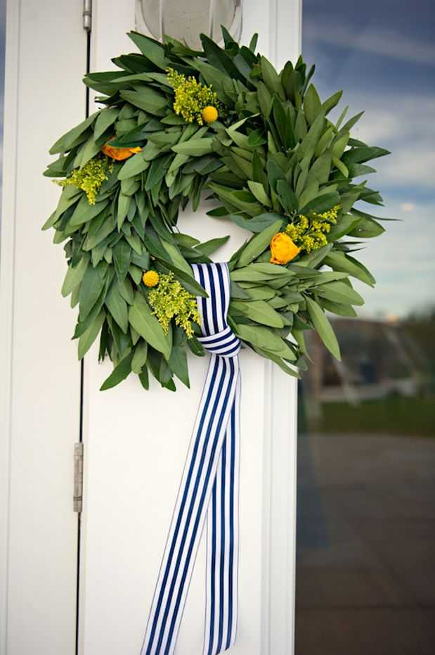 Bay Leaf Wreath with Florals and Ribbon, 15 Spring Wreaths