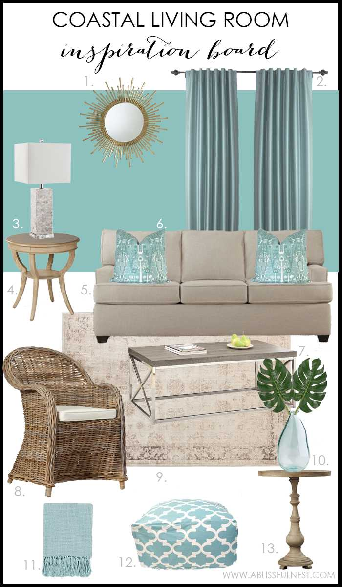 Coastal living room with turquoise accents. Aqua living room design. Get the full details on how to recreate this look on A Blissful Nest. ablissfulnest.com #livingroom #livingroomideas #turquoiselivingroom #livingroomdesign #interiordesign #designtips #coastal #coastallivingroom