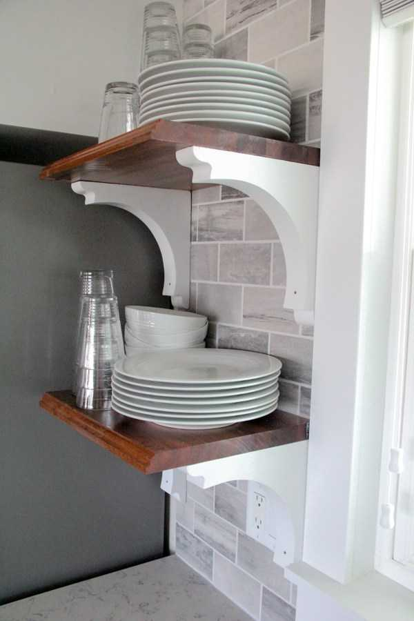 DIY Butcher Block Open Shelving by Bright Green Door, 20 DIY Farmhouse Projects via A Blissful Nest