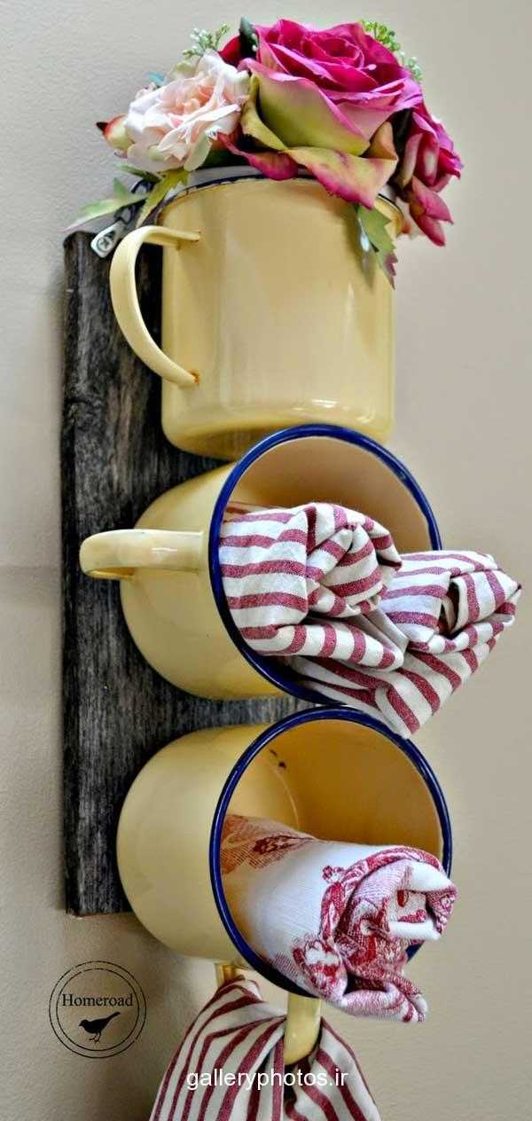 DIY Enamel Mug Organizer by Homeroad, 20 DIY Farmhouse Projects