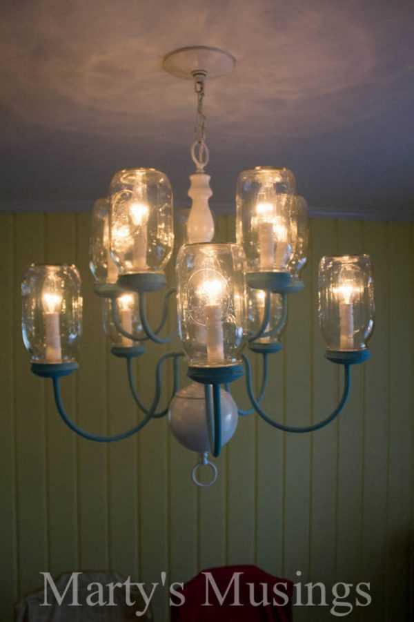 DIY Mason Jar Chandelier by Marty's Musings, 20 DIY Farmhouse Projects via A Blissful Nest