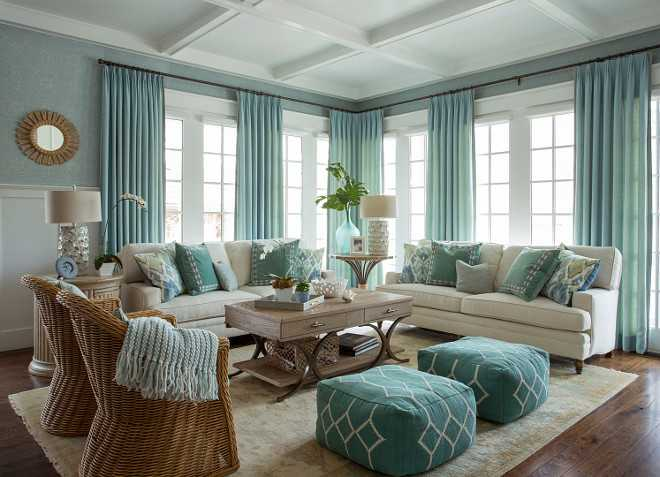 Coastal Living Room With Turquoise Accents. Aqua Living Room Design. Get  The Full Details
