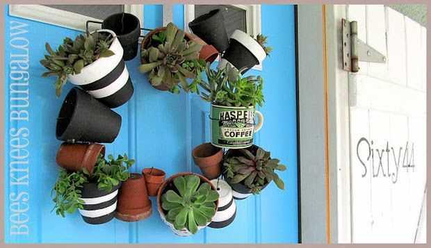 Garden Pots Wreath by Bees Knees Bungalow, 15 Best Spring Wreaths