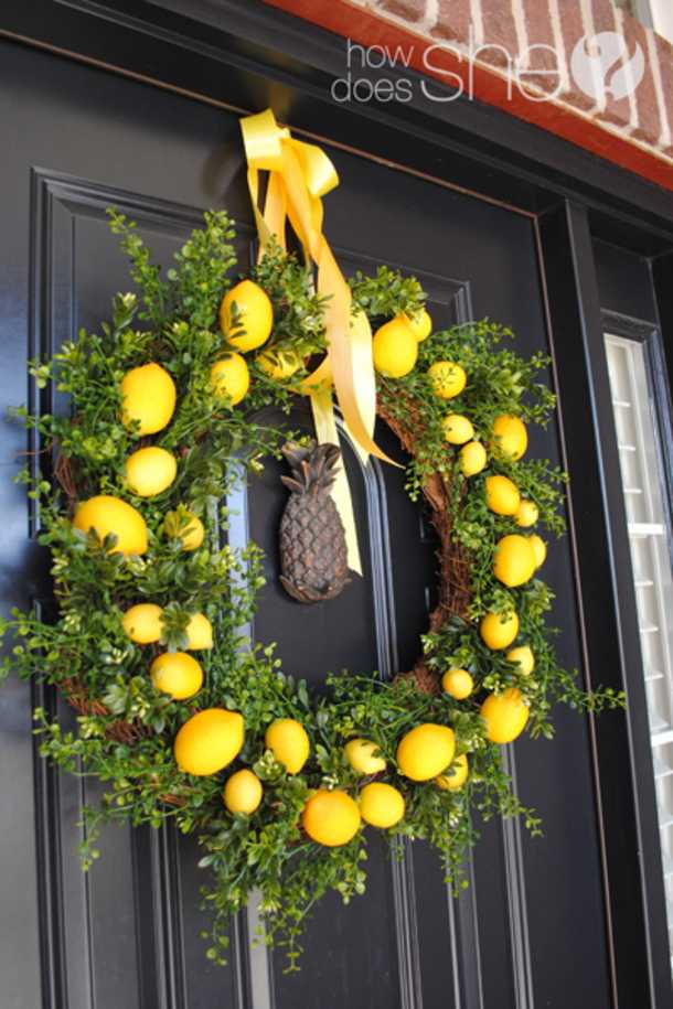 Lemon Spring Wreath by How Does She, 15 Best Spring Wreaths