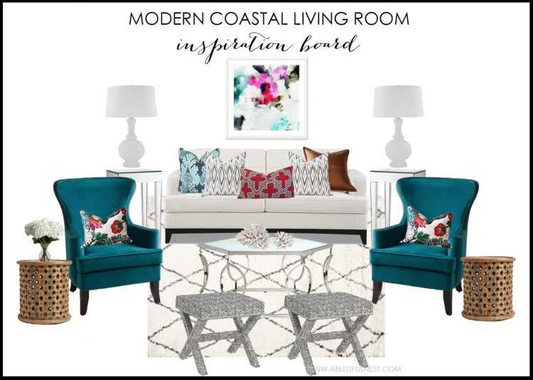 Modern Coastal Residence Living Room Design Board by A Blissful Nest
