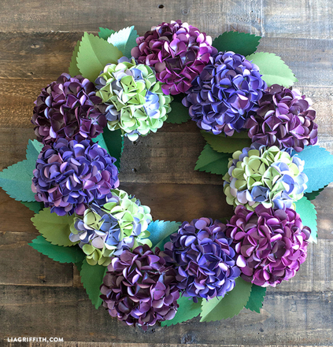 Paper Hydrangea Wreath by Lia Griffith, 15 Best Spring Wreaths
