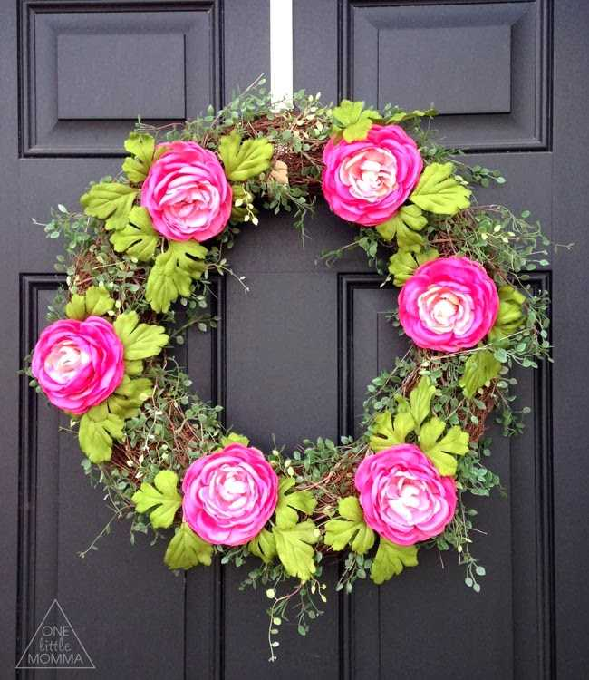 Spring Pink Ranaculous Wreath by One Little Momma, 15 Best Spring Wreaths