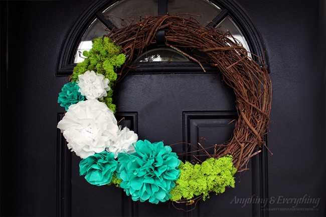 Spring Wreath with DIY Paper Flower Tutorial by My Anything and Everything, 15 Best Spring Wreaths via A Blissful Nest