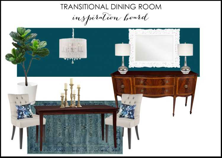 Transitional Dining Room Inspiration Board via A Blissful Nest