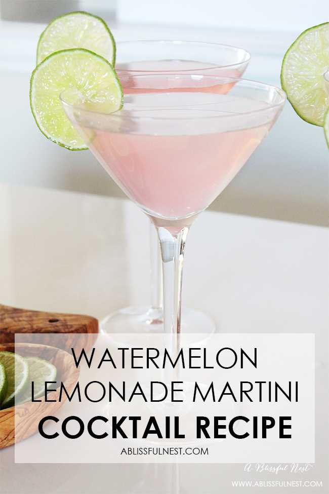 The perfect summer cocktail recipe! Delicious watermelon lemonade martini recipe + a video! https://ablissfulnest.com/ #cocktailrecipe #summercocktail #martinirecipe #drinkrecipe