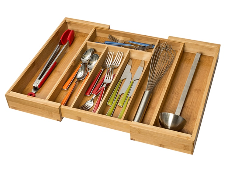 Love these expandable drawer organizers for kitchen utensils. #ABlissfulNest #kitchenorganization #organization
