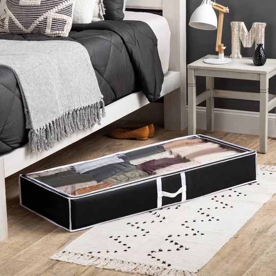 Use the space under your bed with these organizers. #ABlissfulNest #organization