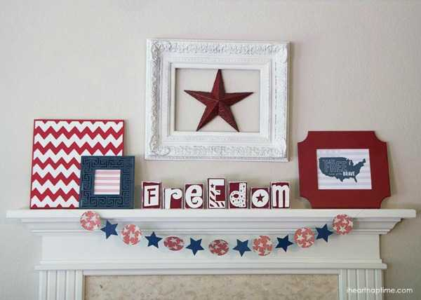 4th of July Mantel, Best 4th of July Decor Ideas via A Blissful Nest