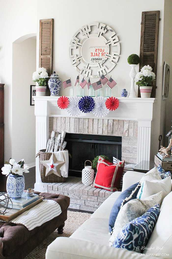 I adore the vintage Americana 4th of July mantle decor! With pops of aqua this is the perfect 4th of July decor by A Blissful Nest. http://ablissfulnest.com #4thofjuly #redwhiteandblue #4thofjulydecor