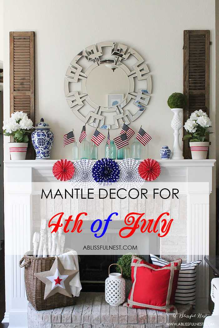 I adore the vintage Americana 4th of July mantle decor! With pops of aqua this is the perfect 4th of July decor by A Blissful Nest. https://ablissfulnest.com #4thofjuly #redwhiteandblue #4thofjulydecor