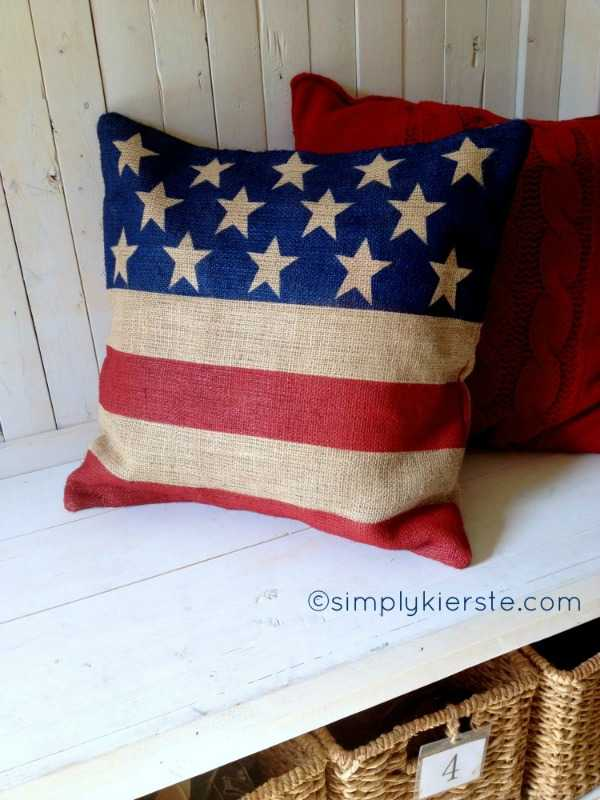 Burlap Flag Pillow, Best 4th of July Decor via A Blissful Nest