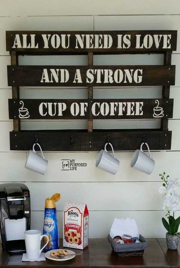 Coffee Cup Rack, 20 Amazing Pallet Projects via A Blissful Nest