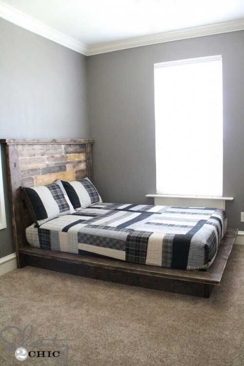 DIY Platform Bed, 20 Amazing Pallet Projects via A Blissful Nest