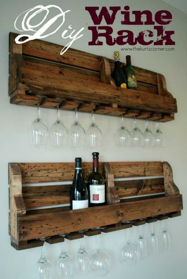 DIY Wine Rack, 20 Amazing Pallet Projects via A Blissful Nest