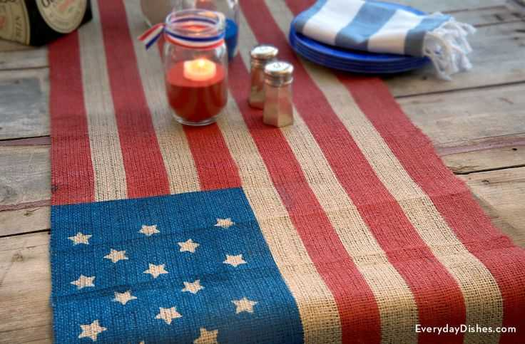 Flag Table Runner, Best 4th of July Decor via A Blissful Nest