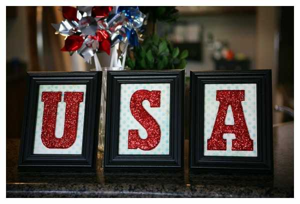 Glitter USA Framed Letters, Best 4th of July Decor Ideas via A Blissful Nest