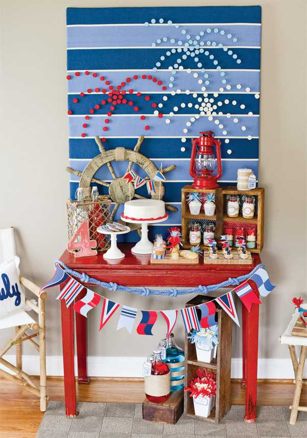 Nautical Fireworks Backdrop, Best 4th of July Decor Ideas via A Blissful Nest