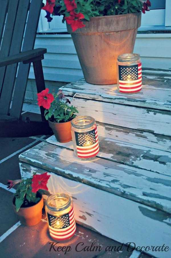 Patriotic Luminaries, Best 4th of July Decor via A Blissful Nest