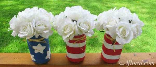 Patriotic Mason Jars, Best 4th of July Decor via A Blissful Nest