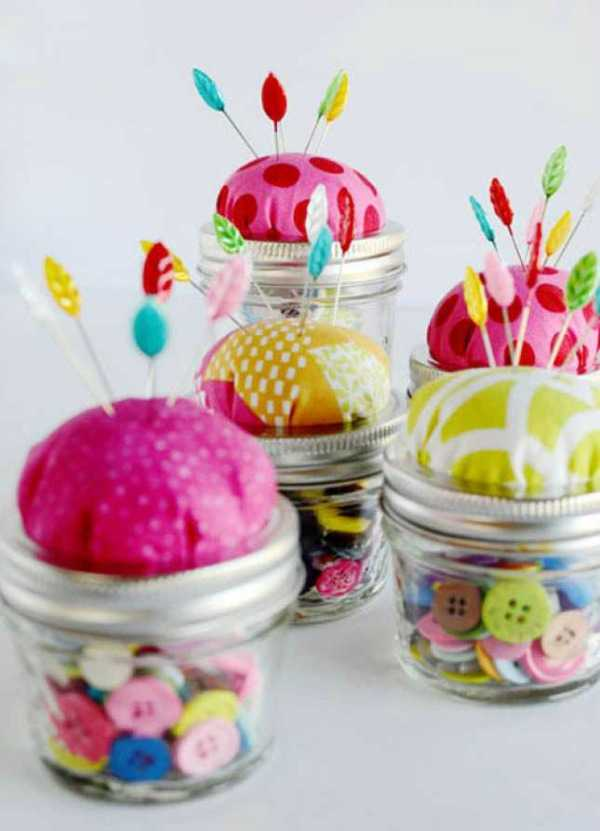 Pin Cushion, 20 Ways to Use Mason Jars