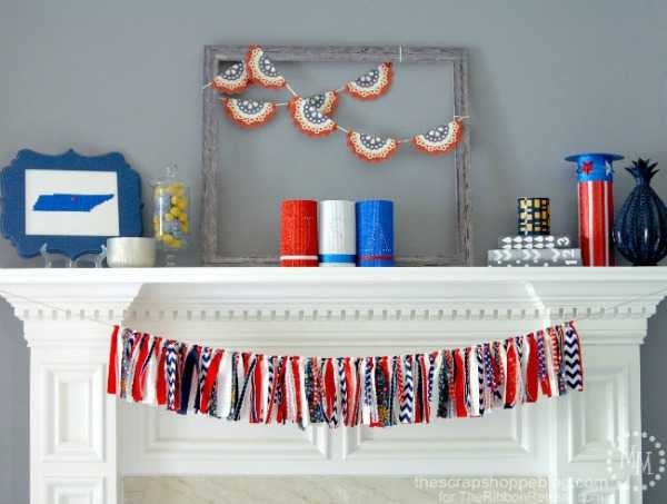 Rag Ribbon Garland, Best 4th of July Decor Ideas via A Blissful Nest
