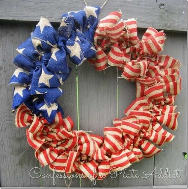 Stars and Stripes Burlap Wreath, Best 4th of July Decor Ideas via A Blissful Nest