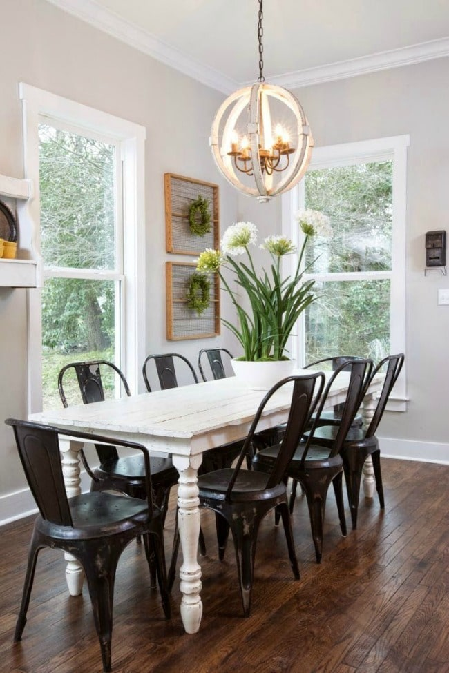 Mixing metals done right in this dining room! Designing on the Side, 20 Best Fixer Upper Rooms