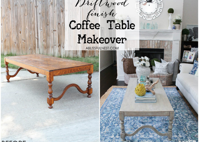 If you love the coastal driftwood look then this is for you! Learn the easiest way to get a weathered wood finish featured on this coffee table makeover by A Blissful Nest. https://ablissfulnest.com/ #coastal #homedecor #diytutorial #tablemakeover #livingroom #driftwood #fauxfinish #weatheredwood