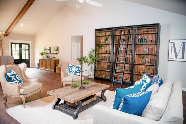 Love the pops of blue in this ranch home living room. HGTV Ranch Home Update, 20 Best Fixer Upper Rooms