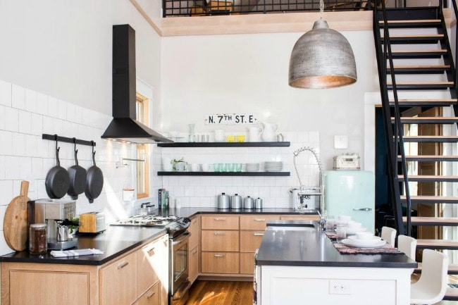 This tiny house kitchen is unbelievable! It looks SO spacious, bright, and functional! HGTV Tiny House, 20 Best Fixer Upper Rooms