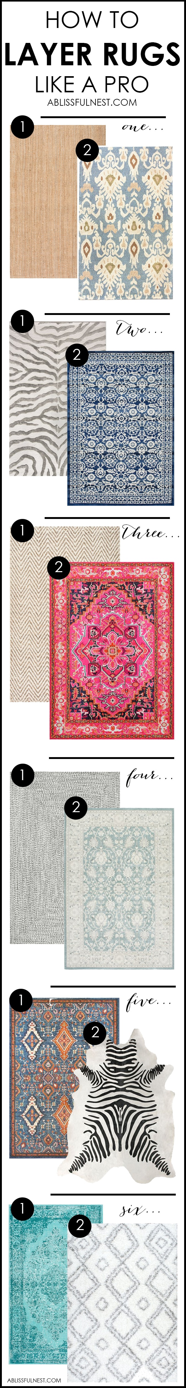 It's time for a change! Show some designer flare and learn how to layer rugs like a pro. The designers all do it for a reason. It makes BIG impact. Make your room pop with these 5 simple tips from A Blissful Nest. http://ablissfulnest.com/ #rugideas #designtips #homedecortips #livingroom #livingroomideas