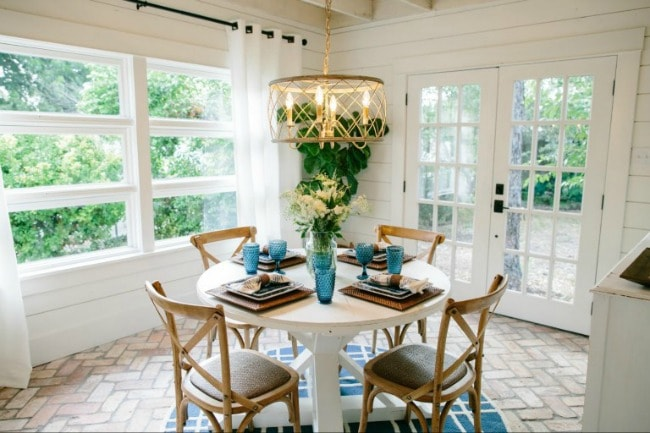 What's more welcoming than a bright breakfast nook bathing in natural light? Love the soft, natural look of this room. Magnolia Market The Beanstalk Bungalow, 20 Best Fixer Upper Rooms