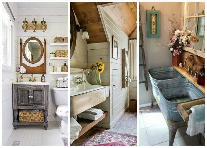 If you love farmhouse decor then you will love these Farmhouse bathrooms! Lots of ideas on how to get the Fixer Upper look for your home. See more on https://ablissfulnest.com/ #farmhouse #farmhousedecor #farmhousebathroom