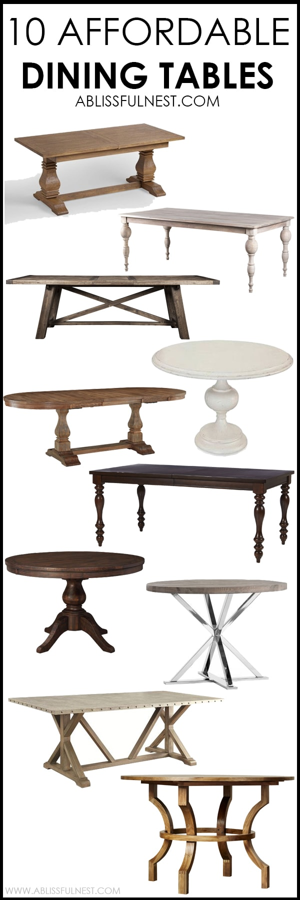 I cannot believe all these dining tables are so affordable! This is such a great round up of dining tables from farmhouse style to a more transitional look. More on http://ablissfulnest.com/ #diningroom #diningtable #designtips #homedecor #diningroomideas