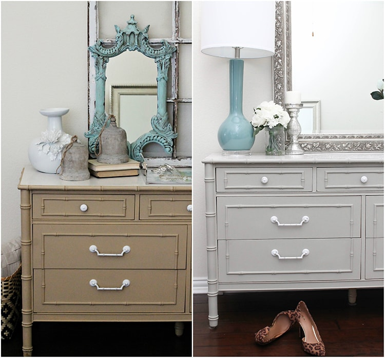 Follow this simple tutorial on how to use chalk furniture paint to makeover a piece of furniture. Such a gorgeous chalk furniture paint dresser makeover by A Blissful Nest. http://ablissfulnest.com/ #chalkfurniturepainttutorial #chalkfurniturepaintmakeover #dresser #furnituremakeover #bedroomideas