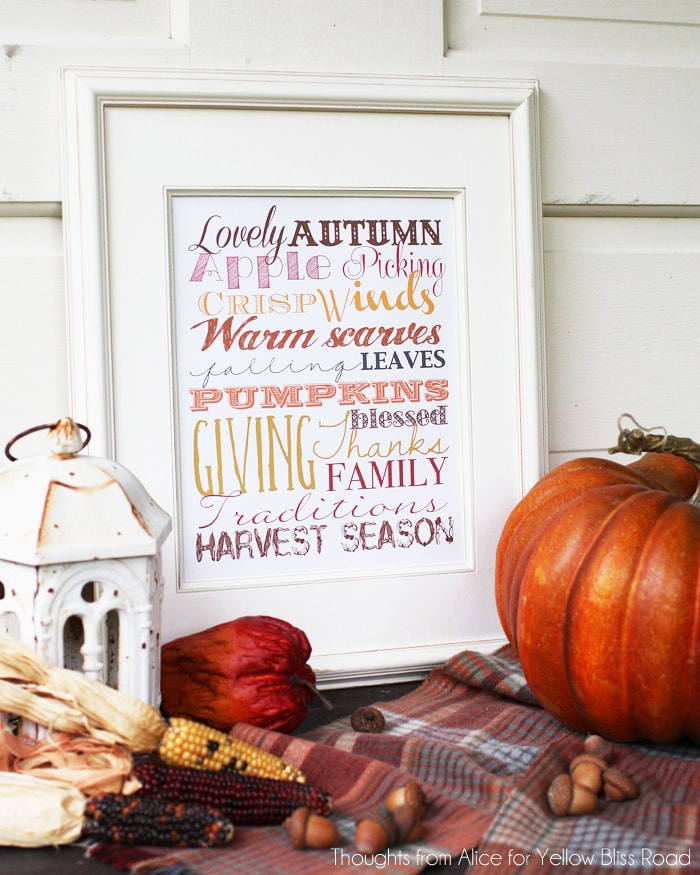 30 of THE BEST fall free printables! Love this one! https//ablissfulnest.com/ #freeprintable #falldecor