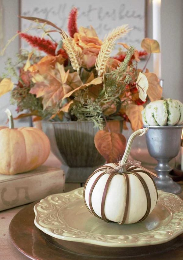Simple DIY Leather Wrapped Pumpkins
