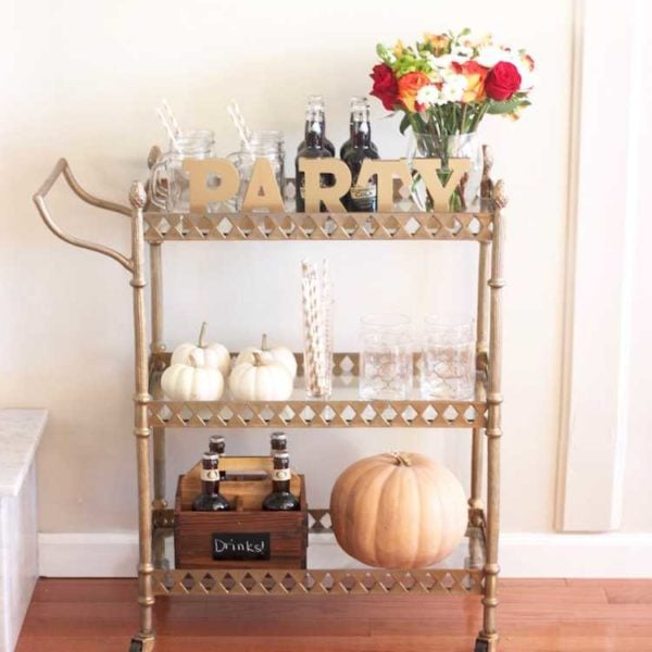 This festive fall bar cart is perfect for any entertaining occasion or even a quiet evening at home. Be prepared for anyone who may stop by, too! Seen on www.ablissfulnest.com