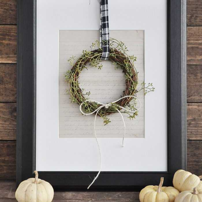 This fall farmhouse mini wreath is a quick and simple project to add a little fall beauty to your homes decor. See more at http://ablissfulnest.com #Fall #FarmhouseDecor #FallWreath