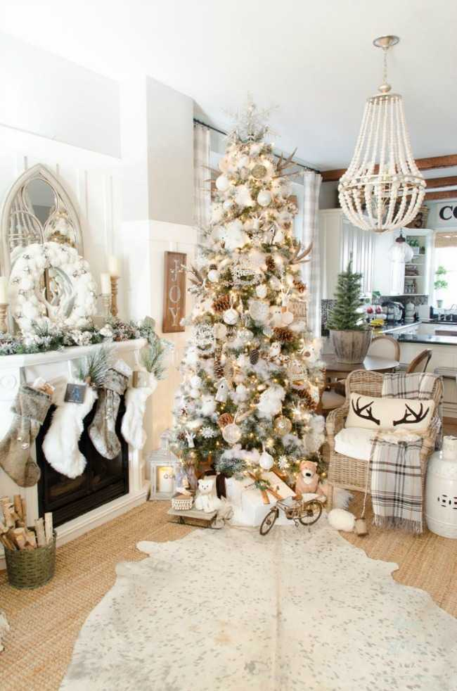 This cozy and festive Christmas tree is a DIY crafter's dream with so many handmade decorations like pinecones and white fur garland